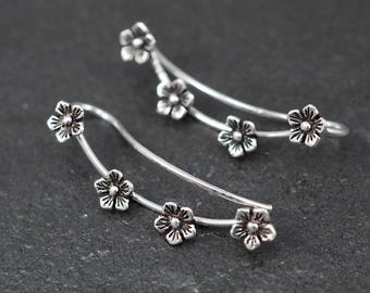 Cherry Blossom Ear Cuff Earrings