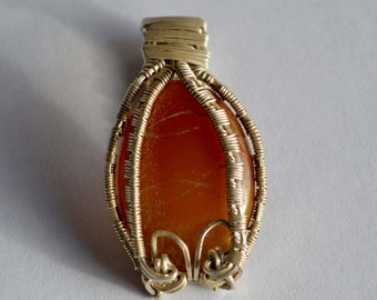 Oregon Carnelian Cabochon with Etched Geometic Pattern in Sterling Silver Wire Wrap Pendant