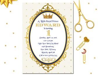 Royal Prince Invitation, Royal 1st Birthday Invitation, Little Prince Invitation, 1st Birthday, Prince Party, Shabby Chic Party, Invite