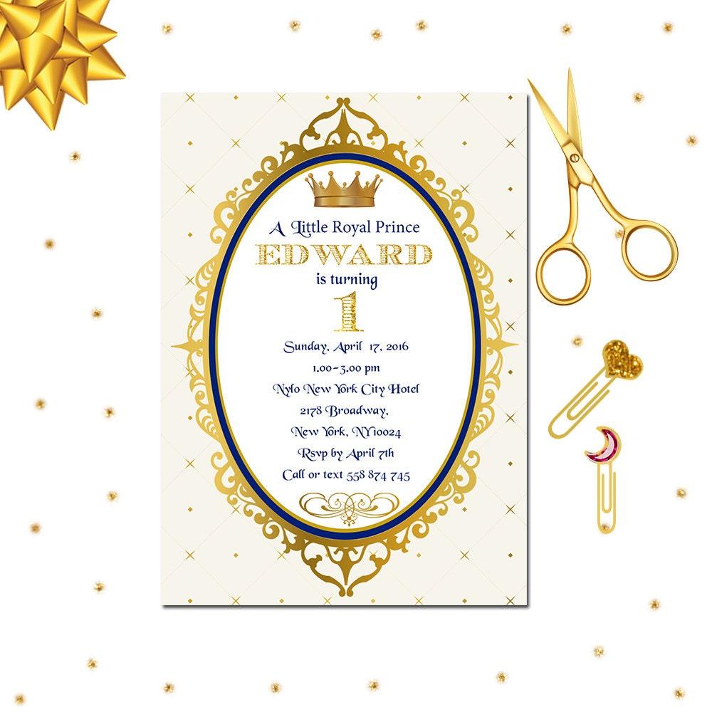 Royal Prince Invitation, Royal 1st Birthday Invitation, Little ...