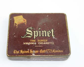 Vintage Spinet Cigarette Tin, The Super Virginia Cigarette, The Spinet House Est' 1775 London