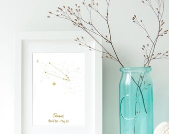 Taurus Zodiac Constellation, Astrology, Star Signs, Horoscope. Real Foil Print. Home Decor. Homemade Gift. Love. Quote. Personalised,