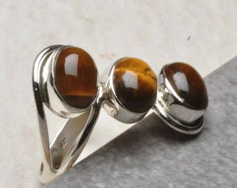 Ring 925 Silver Tiger eye stone stamped size: 61