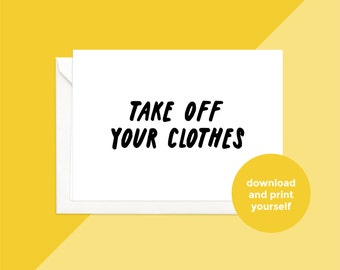 printable download | take off you clothes card