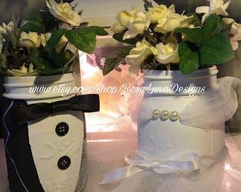 HIS and HERS centerpiece, Mason Jar set, wedding decor, bride and groom decor, wedding vase, cottage chic wedding decor