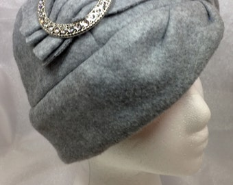 Fleece Cloche Hat with Embellishment