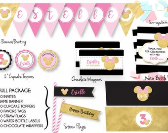 Minnie Full Party Package + Invites/Minnie Matching Party Package/Custom Party Package