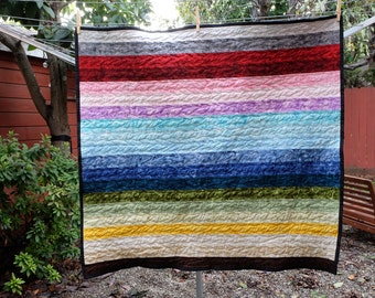 Modern Rainbow Watercolor Striped Baby Blanket / Lap Quilt