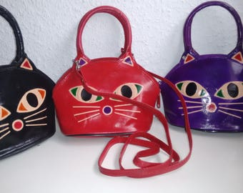 Katze style -Leder Handtasche-handarbeit