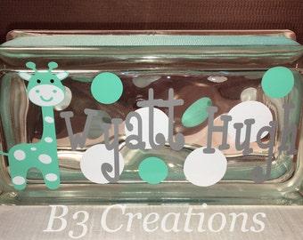Glass Block Night Light, Baby Gift, Personalized Glass Block, Child's Gift, Baby Shower, Lighted Glass Block