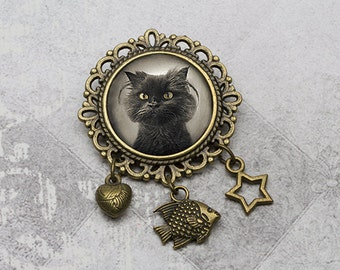 Photo Grumphy Cat Brooch - Victorian Style Photo Cat Brooch, Pet Lovers, Cat Lovers, Cat Gift, Photo Cat Gifts, Cat Photo Bronze Jewelry