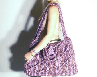 Macramé Bag, Orchid, Purple, Summer Accessory, Macramé Purse, Market Bag, Beach Bag, Retro, 1970's, New, Boho, Carryall, Shoulder Bag, Jute