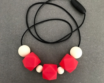 Red and neutral silicone beads with hexagon, necklace
