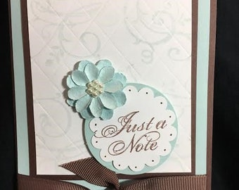 "Handmade Stamped Baby Blue and Brown ""Just a Note"" Greeting Card"