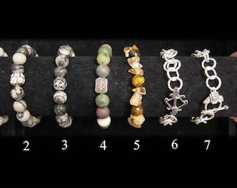Bracelet collection #2 includes jasper, silver-plated, jade, agate, citrine, tiger eye and silk jasper