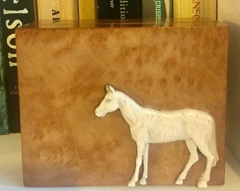 Mahogany box with walnut veneer and charming relief horse