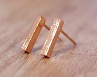 "Rosé gold earrings ""Bar"""