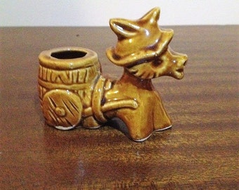 Vintage 1970s Ceramic Donkey Pulling a Cart Tooth Pick Holder / Retro Japanese Made Ceramic Tooth Pick Holder