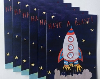 A YEAR OF CARDS boys birthday cards refill // Set of 6 greetings cards for kids birthdays // Retro rocket // Have a blast