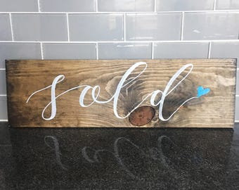 Sold sign | New home sale | Barn wood sign