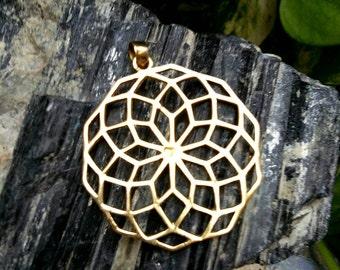 Big geometric pendent, boho jewelry, Brass pendent. Tribal pendent, Boho pendent. Gypsy pendent, Festival jewelry.