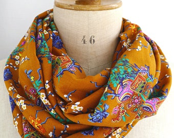 infinity scarf for women, scarf rayon fabric, scarf japanese print, circle shawl japan, circle scarf mustard yellow, womens scarves