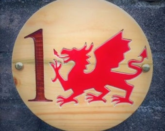 Welsh Dragon Oak House Sign