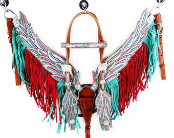 Handmade Angle Wings Red & Teal Fringe Bling Leather Hand Painted Headstall Western Horse Trail Bridle Breast Collar