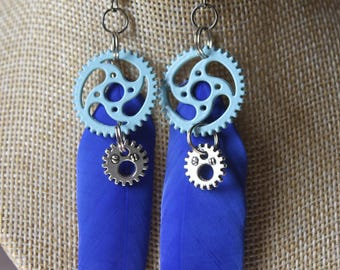 "steampunk with pen and gears ""11"" earrings"