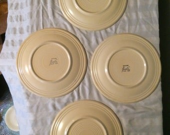 Vintage Ivory (Cream) Fiestaware Set of 4 Luncheon Plates