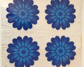 Sylglas blue flowers retro pressure relief-decoration from the years 60 70 wall cupboard tile decoration from the sixties seventies