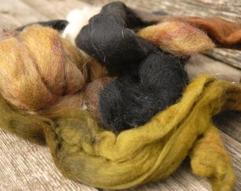 Ochre, green, charcoal Roving for Felting or spinning
