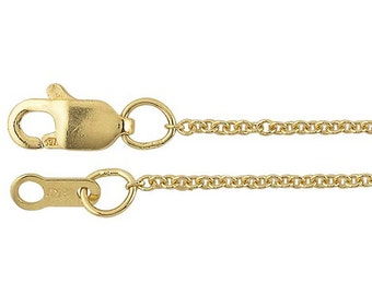 18K solid yellow gold chain. 18K Yellow Gold 1.1mm Cable Chain.  Stamped. Made in US