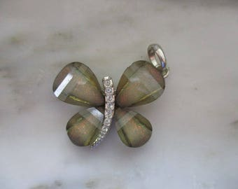 Vintage Silver Tone Brown Lucite & White Rhinestone Butterfly Pendant
