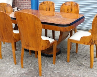 Antique Art Deco Style Furniture Table With 6 Marching Chairs In Walnut - Dining Room Furniture C400