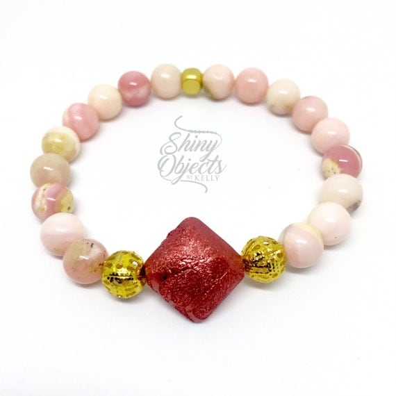 Peruvian Opal Bracelet and Pink Statement Bead