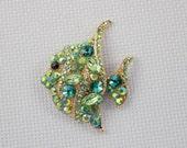 Green Crystal and Rhinestone Angelfish Needleminder / Fish Needleminder /Rhinestone Needleminder
