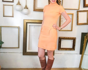 Vintage 60s Sherbert Orange Sweater Mini Dress - sz 4 - Free Ship