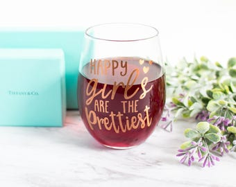 Happy Girls Are The Prettiest - Audrey Hepburn Quote - Pretty 15oz Wine Glass - Cute Glass Drinkware - Gifts For Her