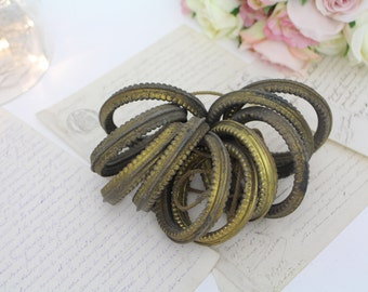 Vintage French Gilt Curtain Rings - Gilt Tole Curtain Rings - Set of 10