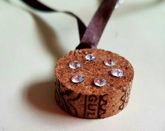 Wine cork pendant necklace