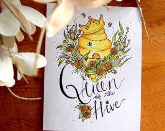 Mother's Day Card, Queen Bee Mother's Day Card, Queen Mother's Day Card, Illustrated Mother's Day Card