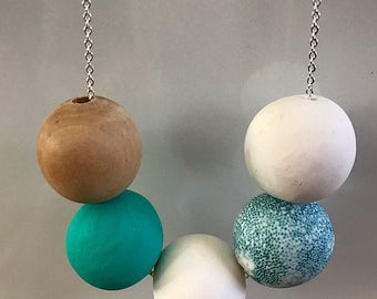 Aqua, White and Wooden Bead Polymer Clay Necklace on Silver Plated Chain; Polymer Clay Jewelry
