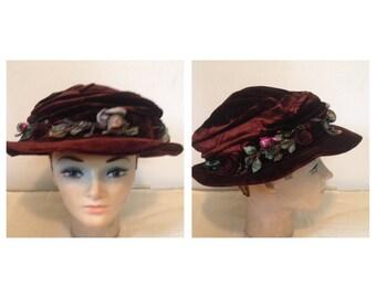 Antique Victorian Brown Velvet Hat