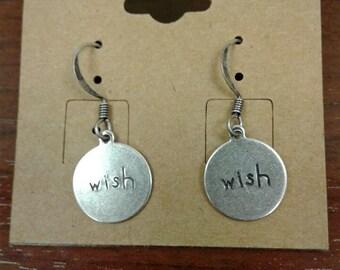 """Antique Silver """"Wish"""" Dangle Earrings"""