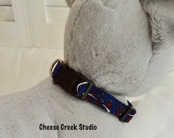 Dog Collar - Adjustable - Handmade - 4th of July Fireworks Print - Size Small