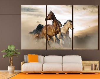 3 horses painting modern kids wall art decor on canvas, large horse wall art modern canvas print set of 3 or 5 panels for room decor