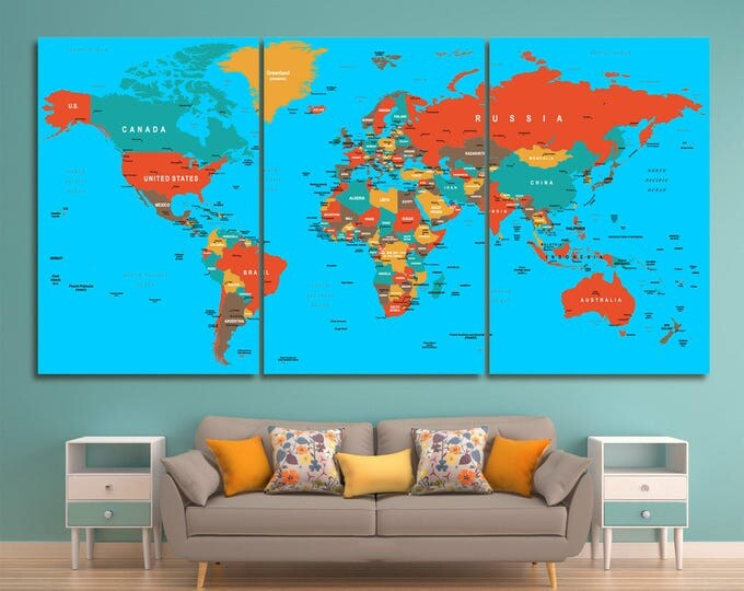Large red and blue push pin world map with borders and conutry names, push pin world map canvas wall art colored push pin world map canvas