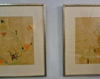 "1930s Hal Stuart Wilcox Hand Colored Woodblock Prints ""On the Reef"" and ""Pearl Fisher"" PAIR Originals Tahiti Siska/Stuart"