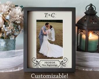 Custom Wedding Picture Frame - Anniversary Frame - Shadow Box - Vinyl on Glass - 8x10 - 11x14